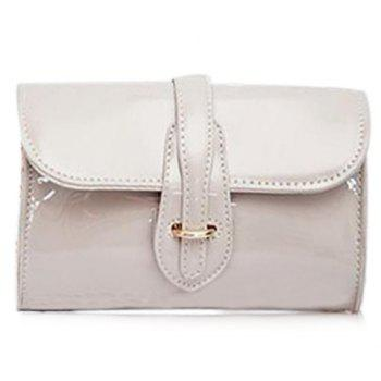 Trendy Buckle and Chain Design Women's Crossbody Bag - WHITE WHITE