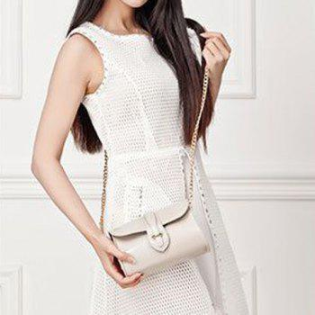 Trendy Buckle and Chain Design Women's Crossbody Bag -  WHITE