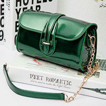Trendy Buckle and Chain Design Women's Crossbody Bag -  GREEN