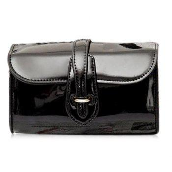 Trendy Buckle and Chain Design Women's Crossbody Bag - BLACK BLACK