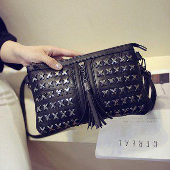 Trendy Rivet and Tassels Design Women's Crossbody Bag