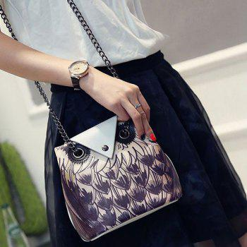Trendy Owl Pattern and Chains Design Women's Crossbody Bag