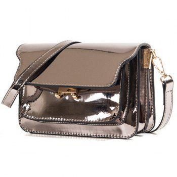 Trendy Solid Colour Patent Leather Design Women's Crossbody Bag - BRONZE COLORED
