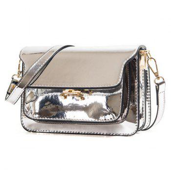 Trendy Solid Colour Patent Leather Design Women's Crossbody Bag - SILVER