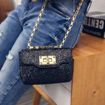 Trendy Metal Rivets and Sequined Cloth Design Women's Crossbody Bag - BLACK BLACK