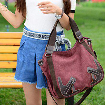 Simple Zippers and Splicing Design Women's Shoulder Bag -  WINE RED