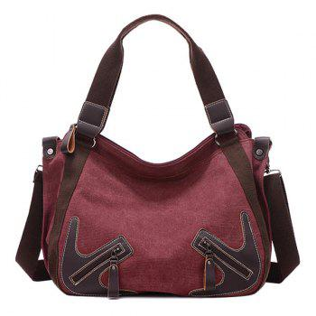 Simple Zippers and Splicing Design Women's Shoulder Bag - WINE RED WINE RED