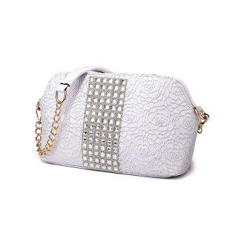 Trendy Lace and Rhinestones Design Women's Shoulder Bag -  SILVER