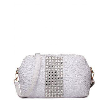 Trendy Lace and Rhinestones Design Women's Shoulder Bag - SILVER SILVER