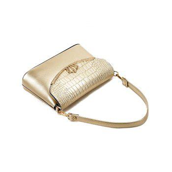 Fashion Crown and Crocodile Print Design Women's Shoulder Bag - GOLDEN