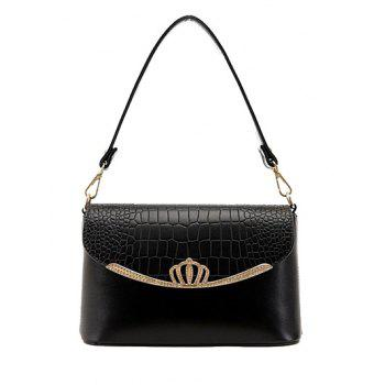 Fashion Crown and Crocodile Print Design Women's Shoulder Bag - BLACK BLACK