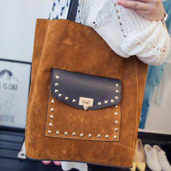 Casual Rivet and Faux Suede Design Women's Shoulder Bag - BROWN BROWN