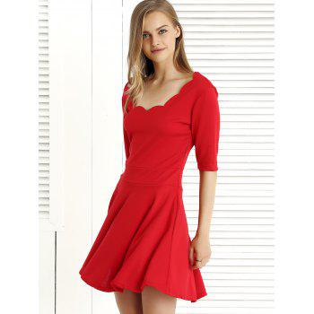 Pure Color 1/2 Sleeve Pleated Dress - RED 2XL