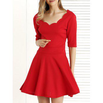 1/2 Sleeve Pure Color Pleated Dress