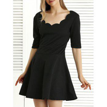 Image of 1 2 Sleeve Pure Color Pleated Dress