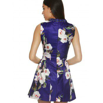 Sleeveless Round Neck Floral Print Dress - BLUE XL