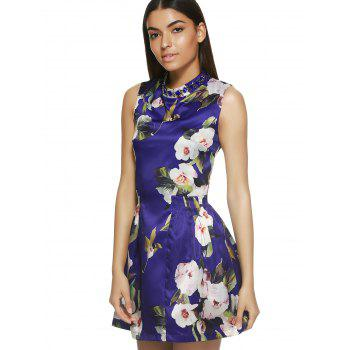 Sleeveless Round Neck Floral Print Dress - S S
