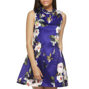 Sleeveless Round Neck Floral Print Dress - BLUE S