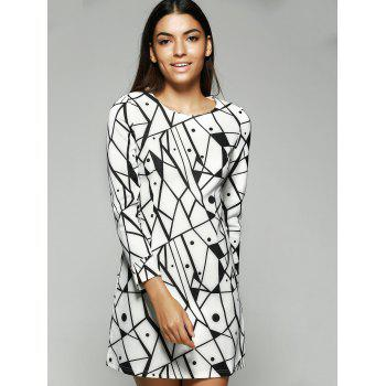 Geometric Print Long Sleeve Round Neck Dress - WHITE WHITE