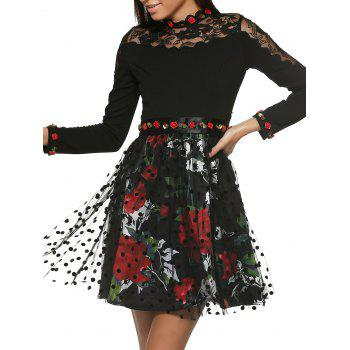 Long Sleeve Floral Belt Tie Printed Spliced Dress