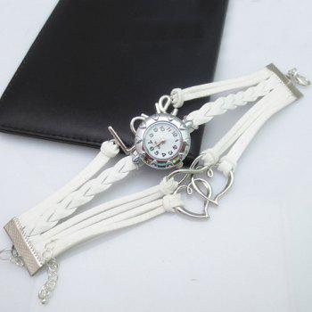 Love Heart Hollow Out Infinity Bracelet Watch - WHITE