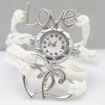 Love Heart Hollow Out Infinity Bracelet Watch - WHITE WHITE