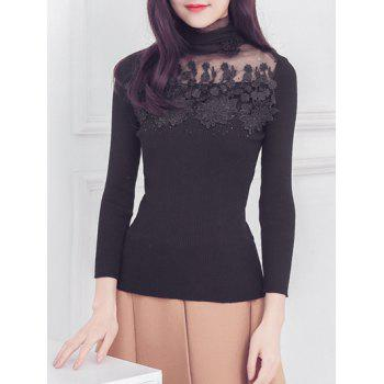 Oversized Sweet Flower Mesh Spliced Turtle Neck Slimming Knitwear