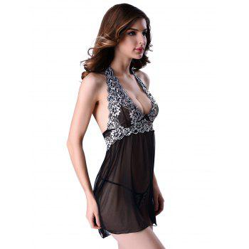 Alluring T-Back and Halter Backless Lace Spliced Sheer Babydoll For Women - BLACK BLACK