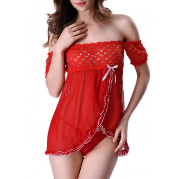 Charming T-Back and Off The Shoulder Surplice Hearts Lace Sheer Babydoll For Women