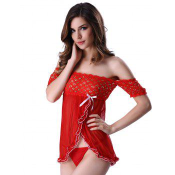 Charming T-Back and Off The Shoulder Surplice Hearts Lace Sheer Babydoll For Women - RED RED