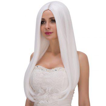 Long Middle Part White Straight Tail Adduction Women's Fashion Cosplay Lolita Synthetic Wig - WHITE