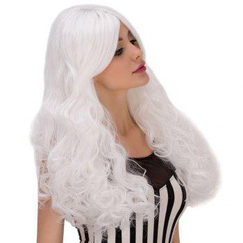 Towheaded Wavy Long Middle Part White Women's Cosplay Lolita Synthetic Wig - WHITE