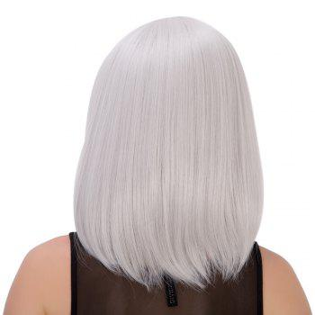 Medium Side Bang Silver White Straight Endearing Women's Cosplay Lolita Synthetic Wig - SILVER WHITE