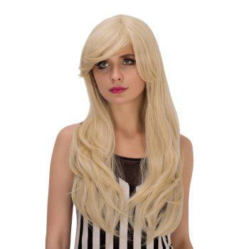Slightly Curled Long Pale Gold Side Bang Sparkling Synthetic Wig For Women - LIGHT GOLD