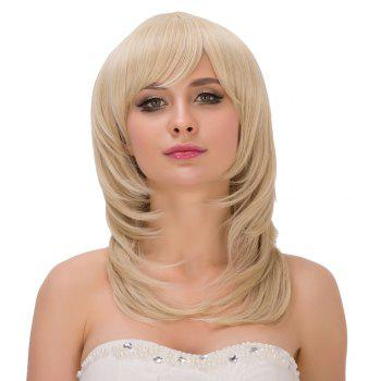 Tail Adduction Medium Pale Gold Side Bang Fascinating Synthetic Wig For Women - LIGHT GOLD