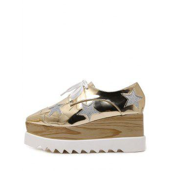 Fashion Square Toe et Motif Star Design Femmes  's Shoes Wedge - Or 37