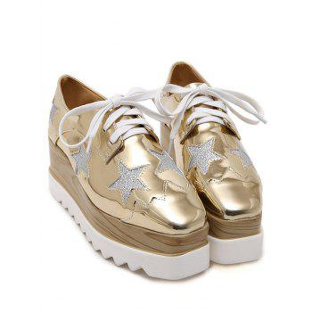Fashion Square Toe and Star Pattern Design Women's Wedge Shoes - GOLDEN 38