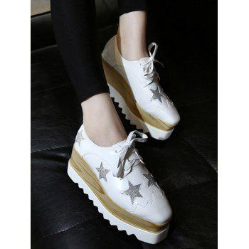 Fashion Square Toe and Star Pattern Design Women's Wedge Shoes - 38 38