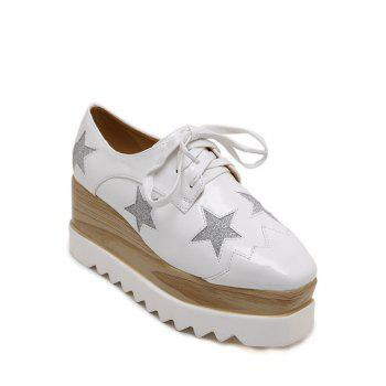Fashion Square Toe and Star Pattern Design Women's Wedge Shoes - WHITE 38