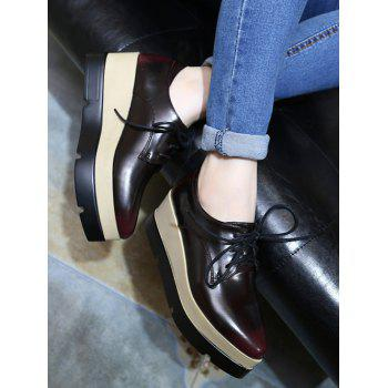Fashionable Pointed Toe and Tie Up Design Women's Wedge Shoes - WINE RED 39