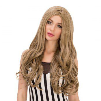 Fashion Long Wavy Centre Parting Flaxen Synthetic Wig For Women - FLAX