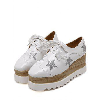 Fashion Square Toe and Star Pattern Design Women's Wedge Shoes - WHITE WHITE