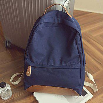 Leisure Canvas and PU Splice Design Women's Backpack -  DEEP BLUE