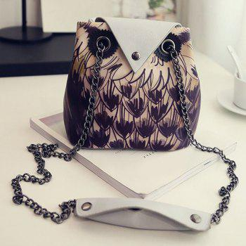 Trendy Owl Pattern and Chains Design Women's Crossbody Bag - GRAY