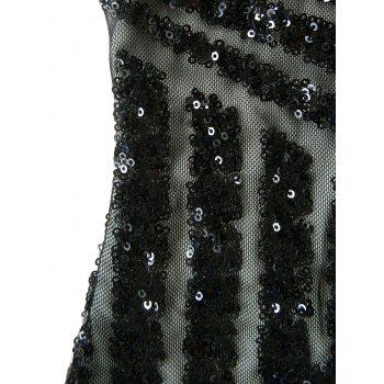 Low Cut Sequin Mini Bodycon Dress - BLACK M