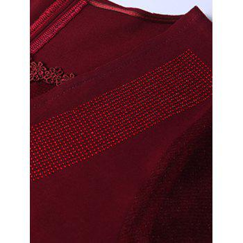 Chic Rhinestone Embellished Pocket Design Women's Dress - DEEP RED 4XL