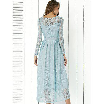 Lace Long Sleeve Swing Wedding Evening Dress - BLUE S