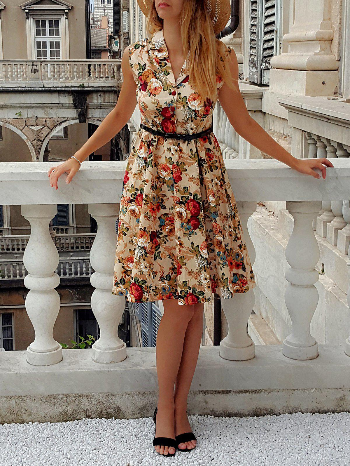 Retro Turn-Down Collar Sleeveless Floral Print Women's Ball Gown Dress