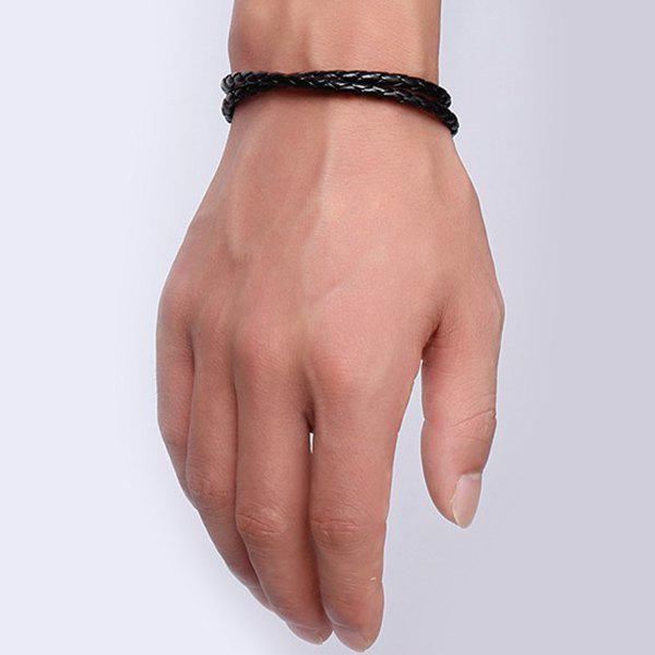 Simple Faux Leather Braid Bracelet For Men - BLACK