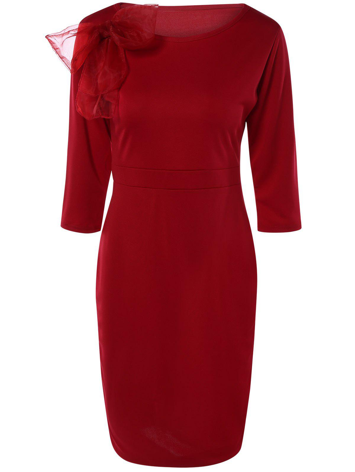 Chic Bowknot Embellished Solid Color Skinny Women's Dress - RED 2XL
